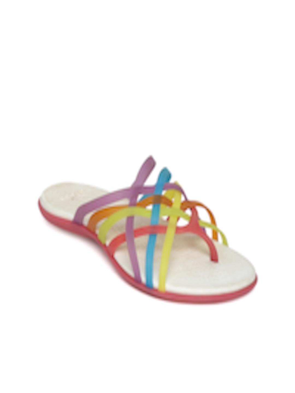 d1e58d59eda8 Buy Crocs Women Multicoloured Strappy Huarache Flip Flops - Flip Flops for  Women 1217648