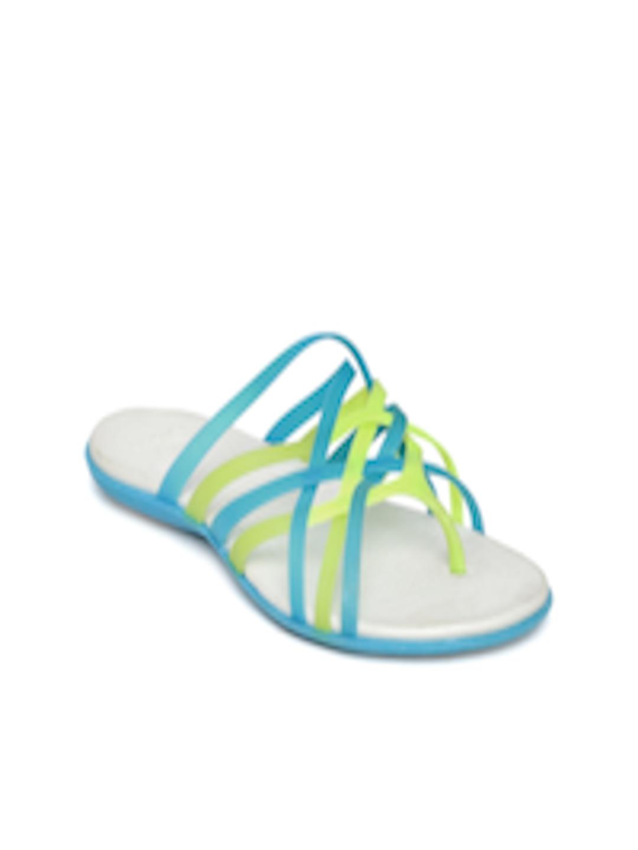 ba0238e8d791 Buy Crocs Women Blue Strappy Huarache Flip Flops - Flip Flops for Women  1217650