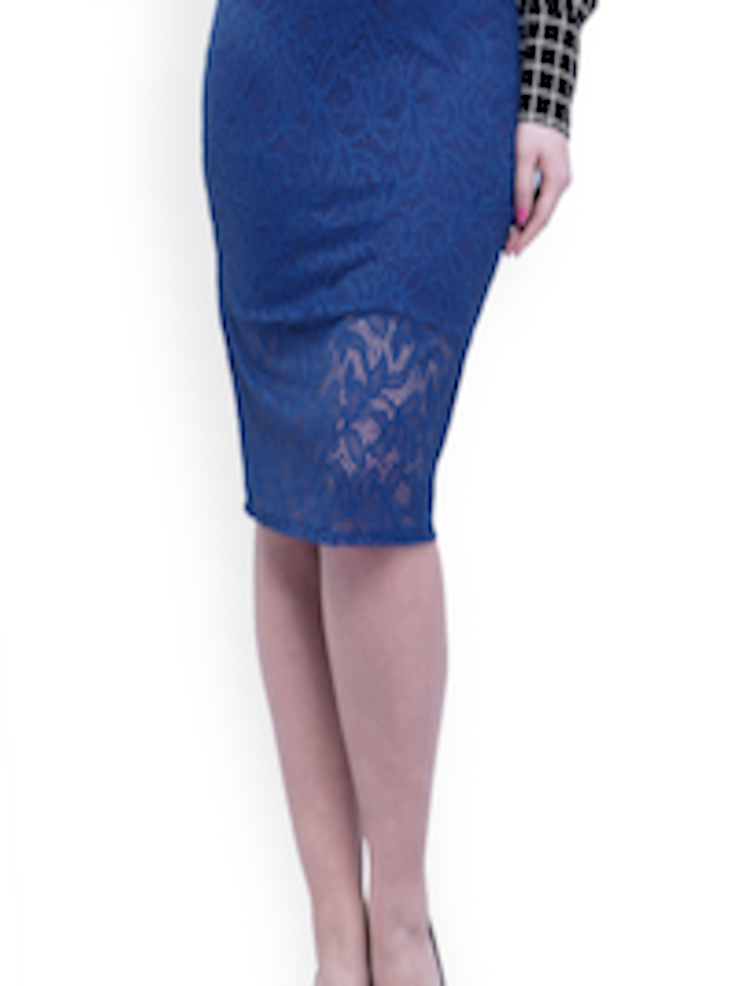 64cb4a8181 Buy FabAlley Curve Blue Lace Pencil Skirt - Skirts for Women 1238990    Myntra