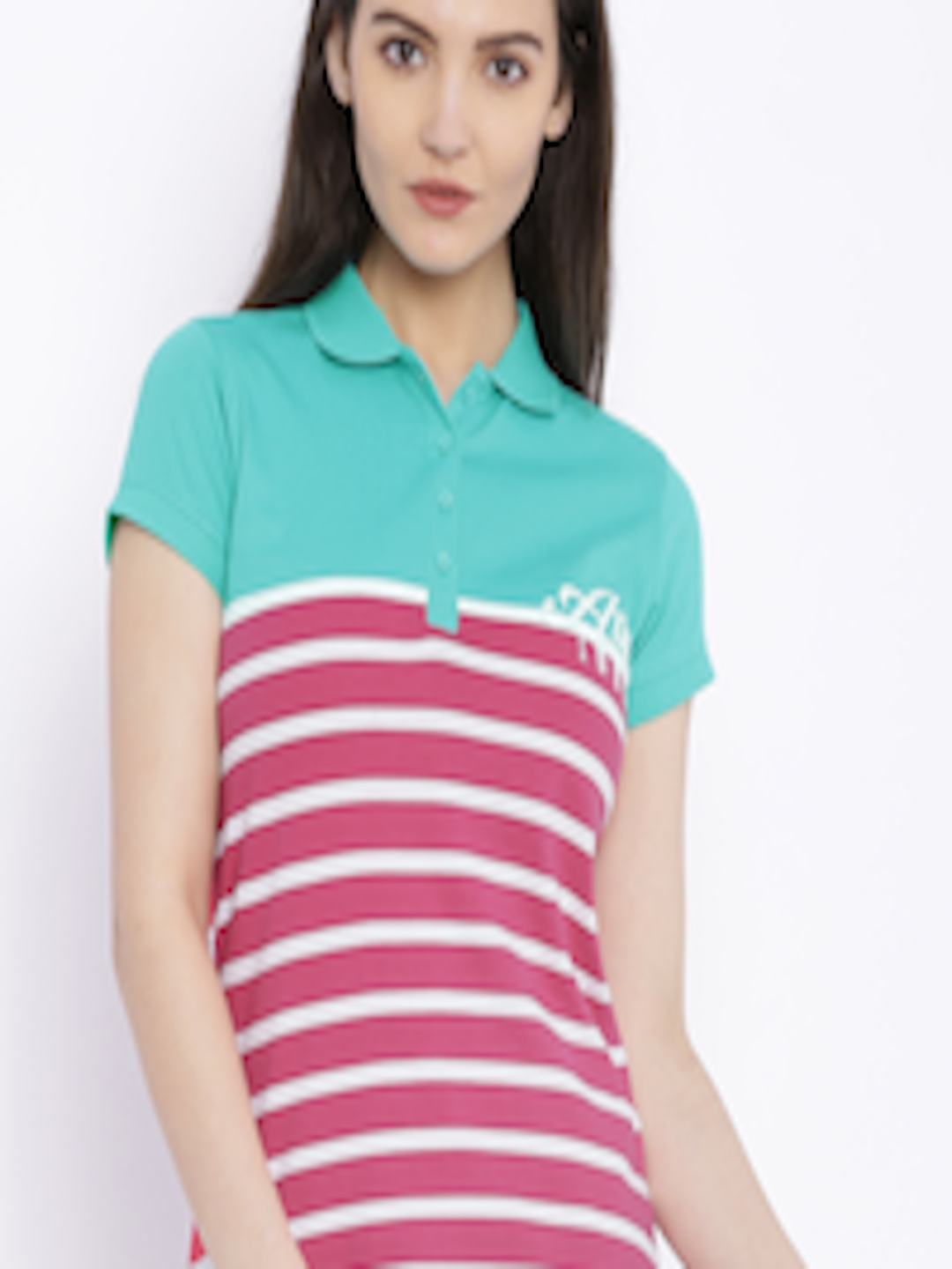 030036f4539172 Buy Ajile By Pantaloons Green & Pink Striped Polo T Shirt - Tshirts ...