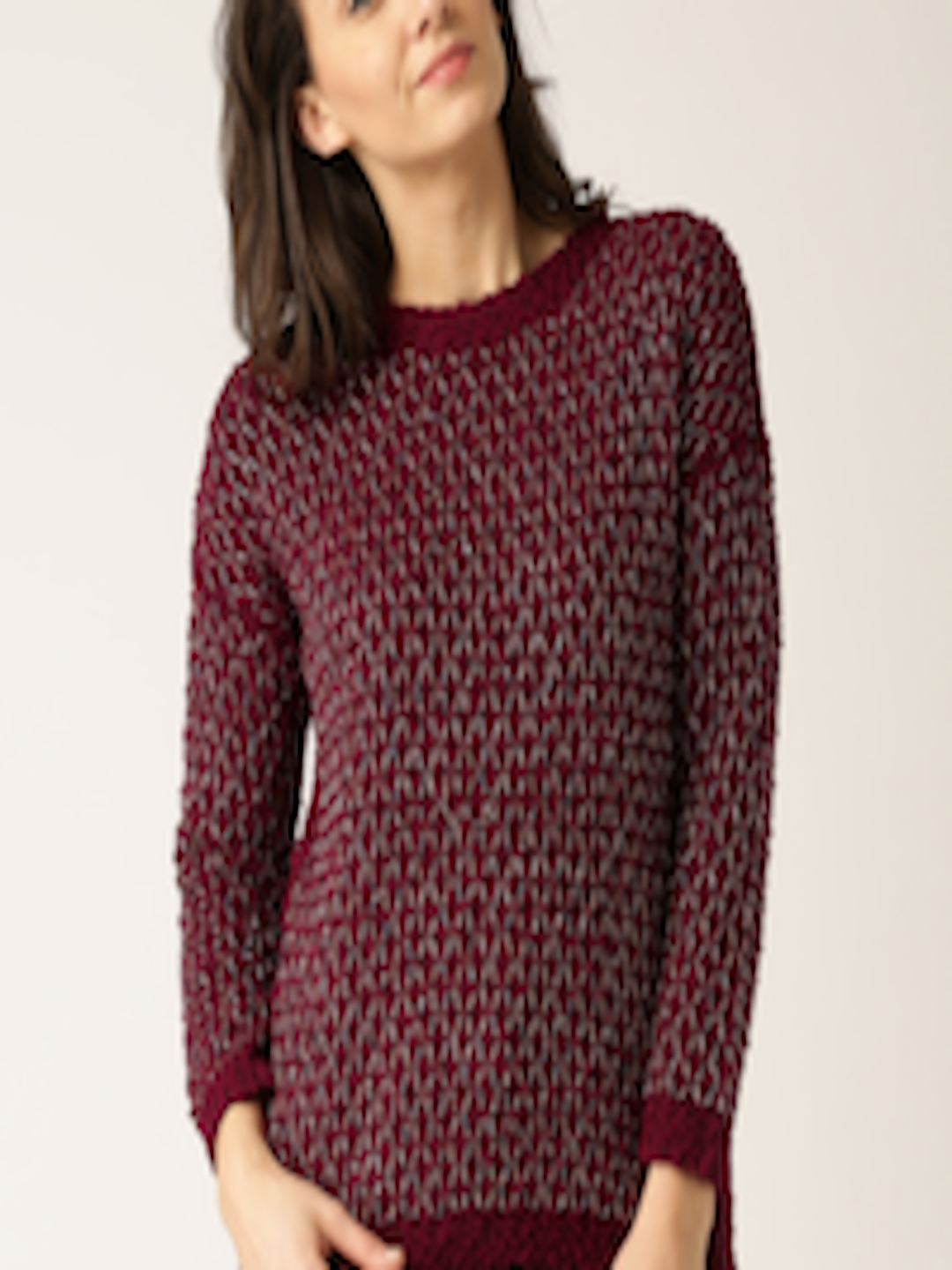 53673accae Buy DressBerry Maroon   Gold Toned Sweater - Sweaters for Women 1290795