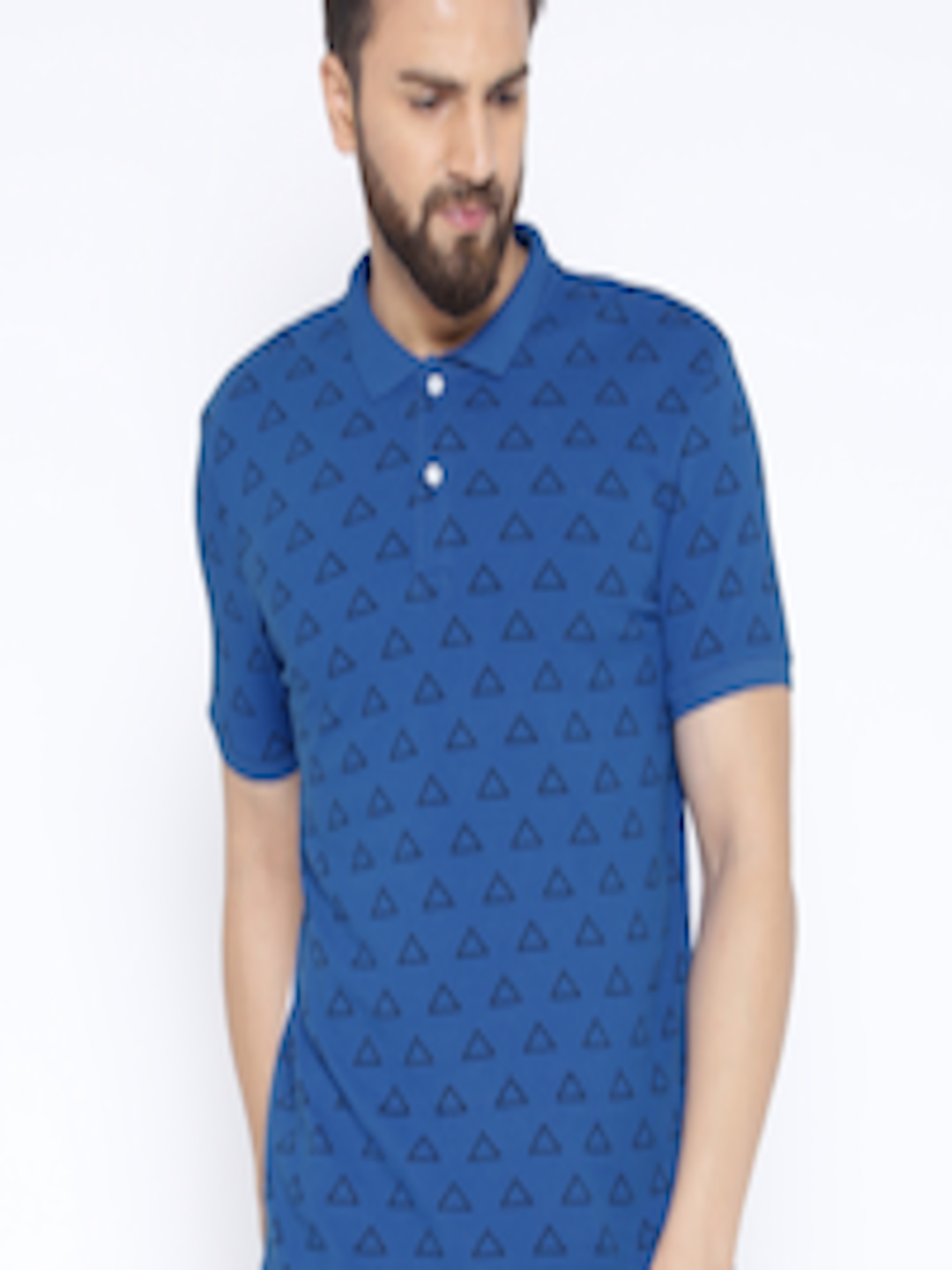cd2681b00b8e Buy United Colors Of Benetton Blue   White Triangle Print Polo T ...