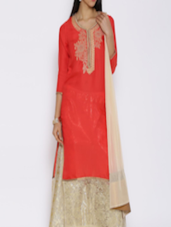 Ihram Kids For Sale Dubai: Buy Aujjessa Red & Golden Embroidered Kurta With Palazzo