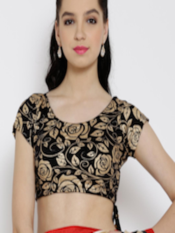 c726c11ac6eba Buy Ira Soleil Black   Gold Toned Floral Print Saree Blouse - Saree Blouse  for Women 1318844