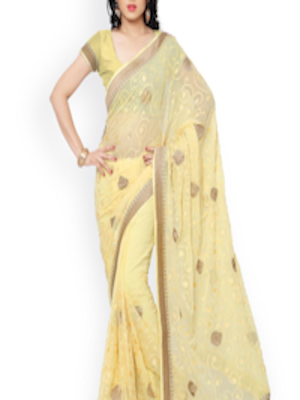 b2a6d3a2e Buy Subhash Sarees Yellow Embroidered Chiffon Saree - Sarees for Women  1334077 | Myntra
