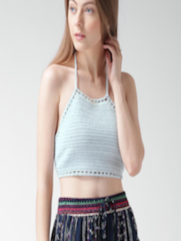 Buy Forever 21 Blue Crochet Halter Neck Crop Top Tops For Women