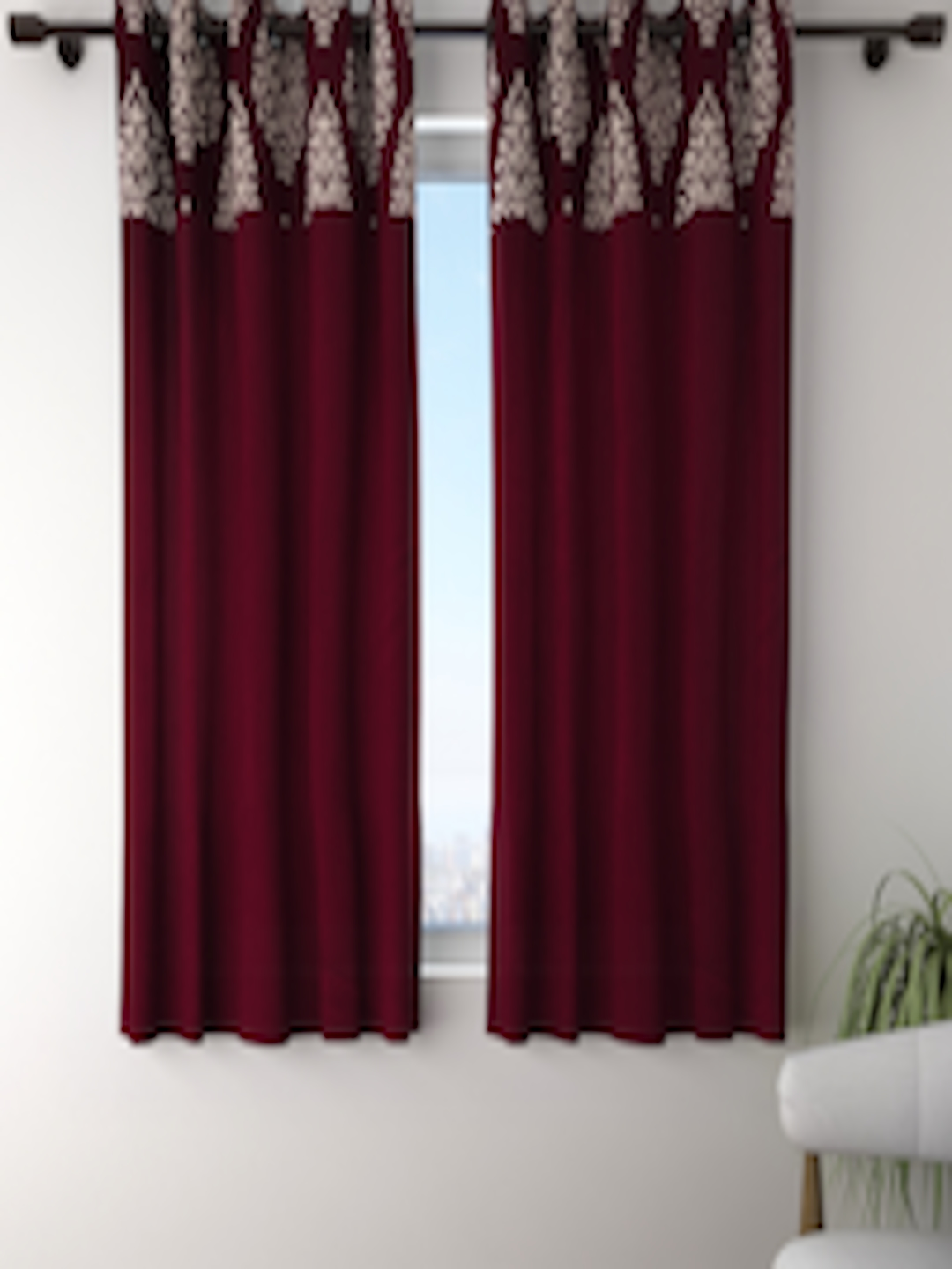 Buy Fashion String Set Of 2 Maroon & Cream Coloured Window