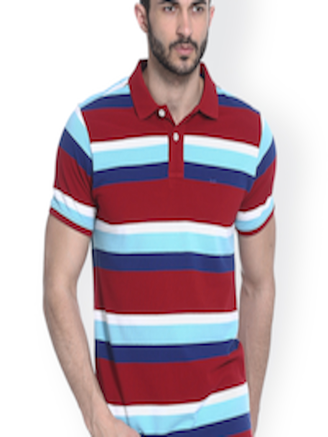 Buy Basics Red Striped Muscle Fit Polo T Shirt - Tshirts ...