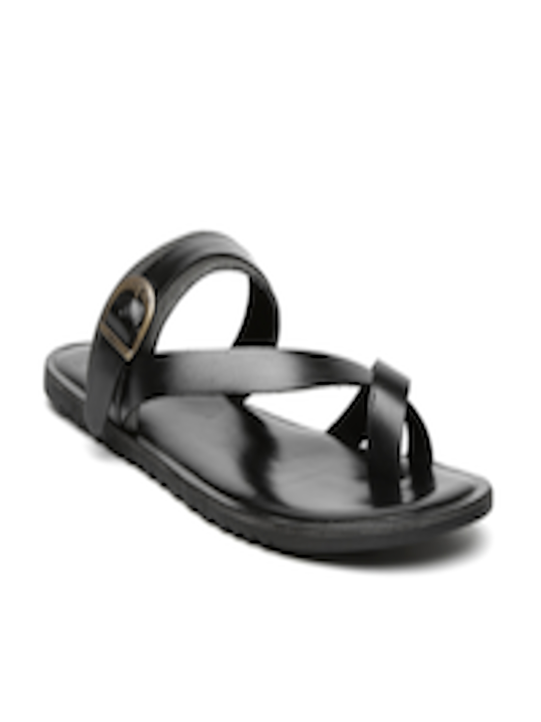 124a95d8b25f Buy Van Heusen Men Black Leather Sandals - Sandals for Men 1378677 | Myntra
