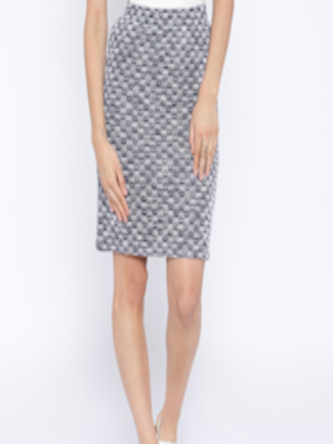 buy and navy white patterned pencil skirt skirts for