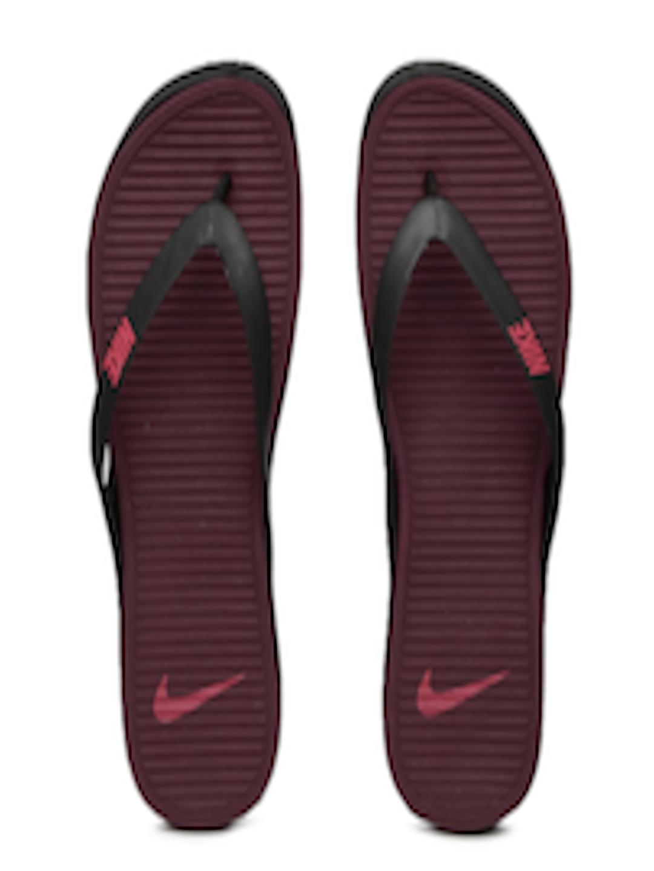 reputable site 3c647 e4fab Buy Nike Men Black & Burgundy Matira Flip Flops - - Footwear for Men