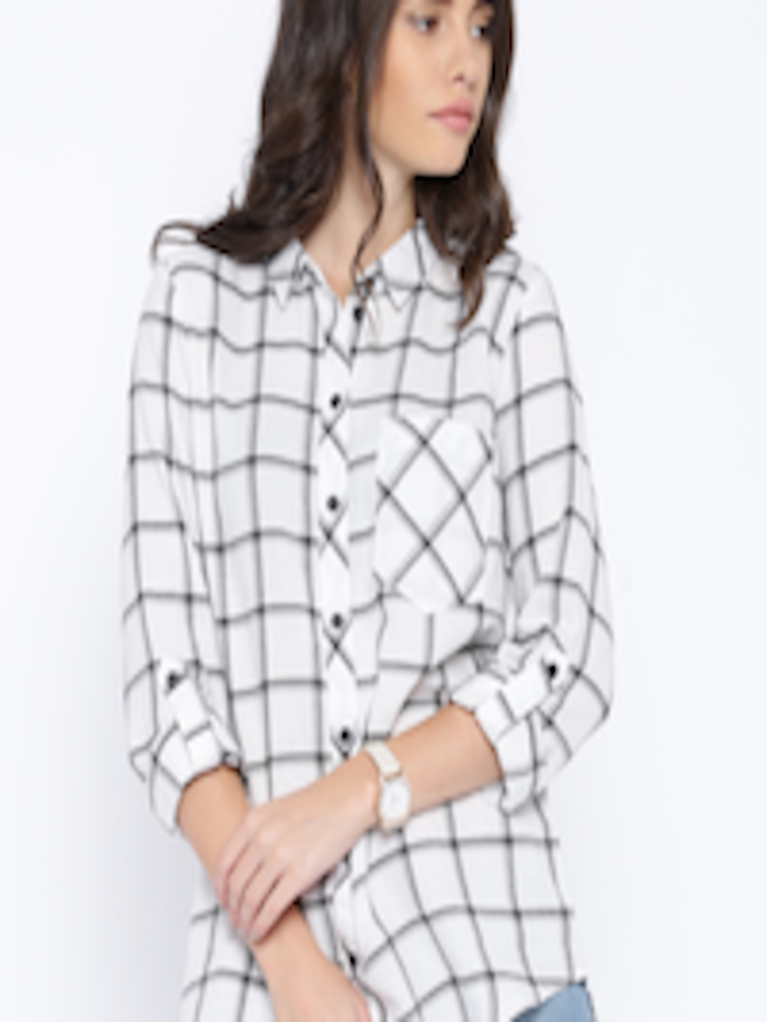a91568aa Buy ONLY Black & White Checked Shirt - Shirts for Women 1430841 | Myntra