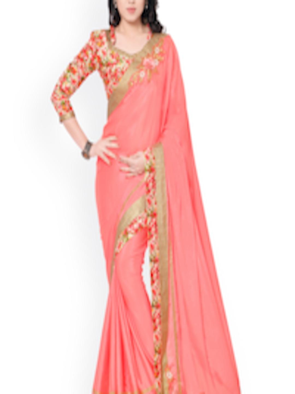 Buy Indian Women Pink Silk Embellished Saree