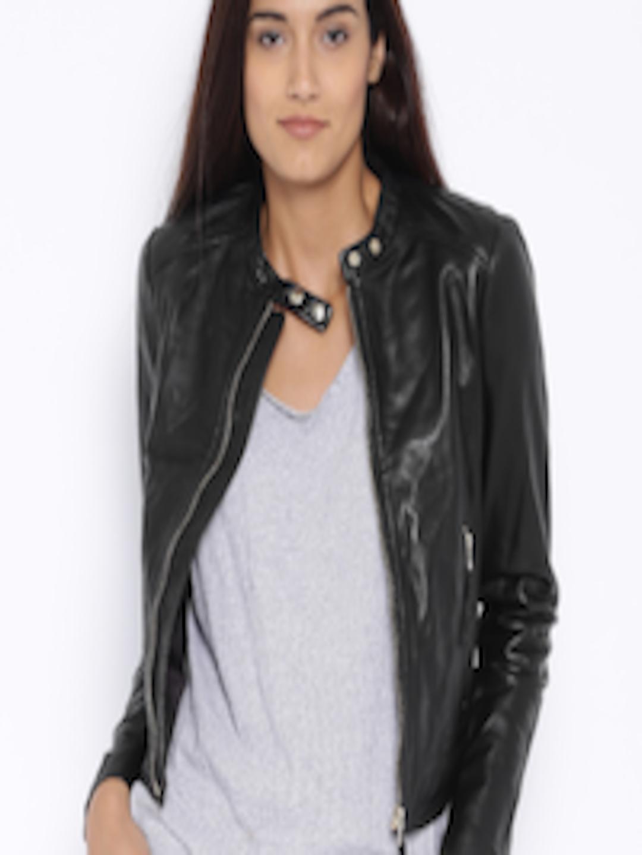 74e944142 Buy MANGO Black Leather Biker Jacket - - Apparel for Women