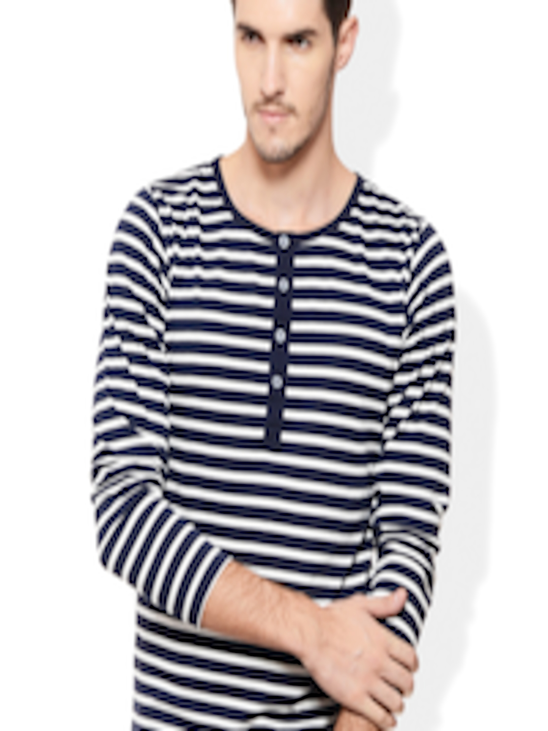 c180fe3a8bc Buy Rigo Navy   White Striped Henley Fit T Shirt - Tshirts for Men 1484701