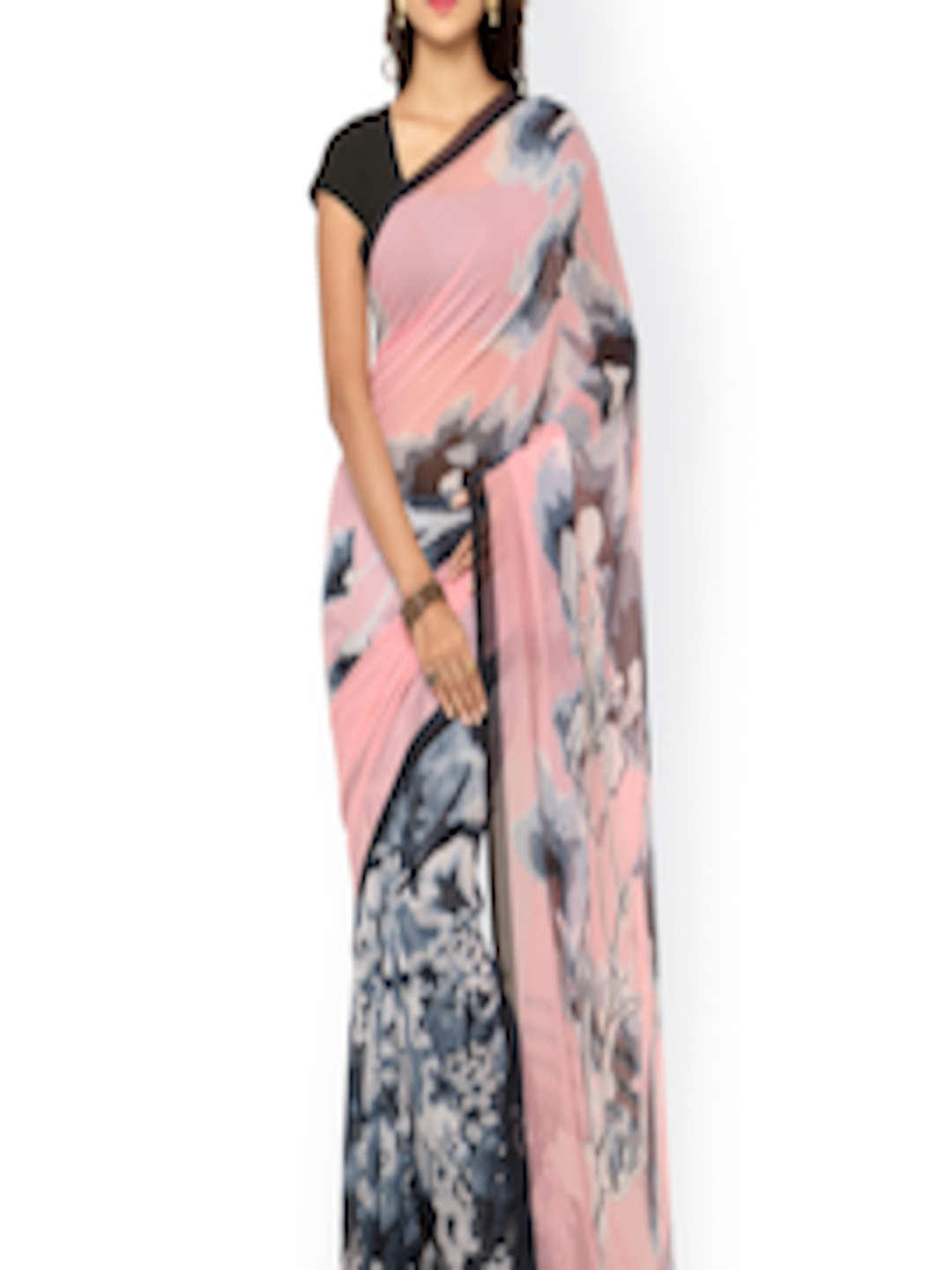 buy ligalz pink grey georgette floral print saree. Black Bedroom Furniture Sets. Home Design Ideas