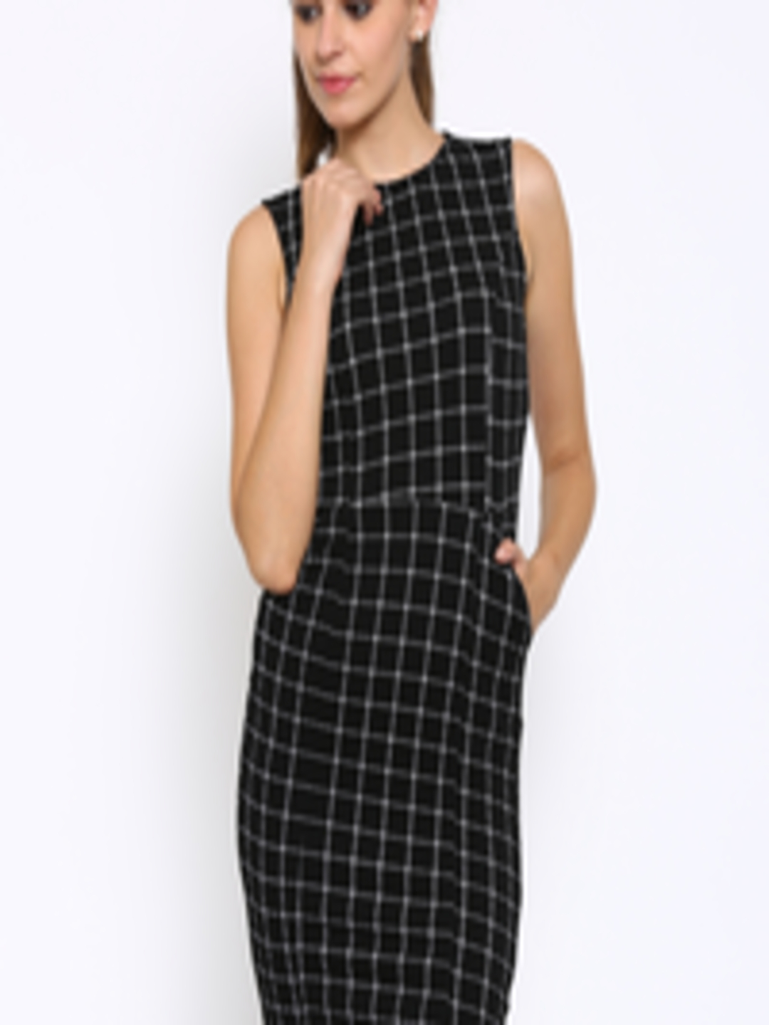 Buy Annabelle By Pantaloons Women Black & White Checked Sheath Dress ...