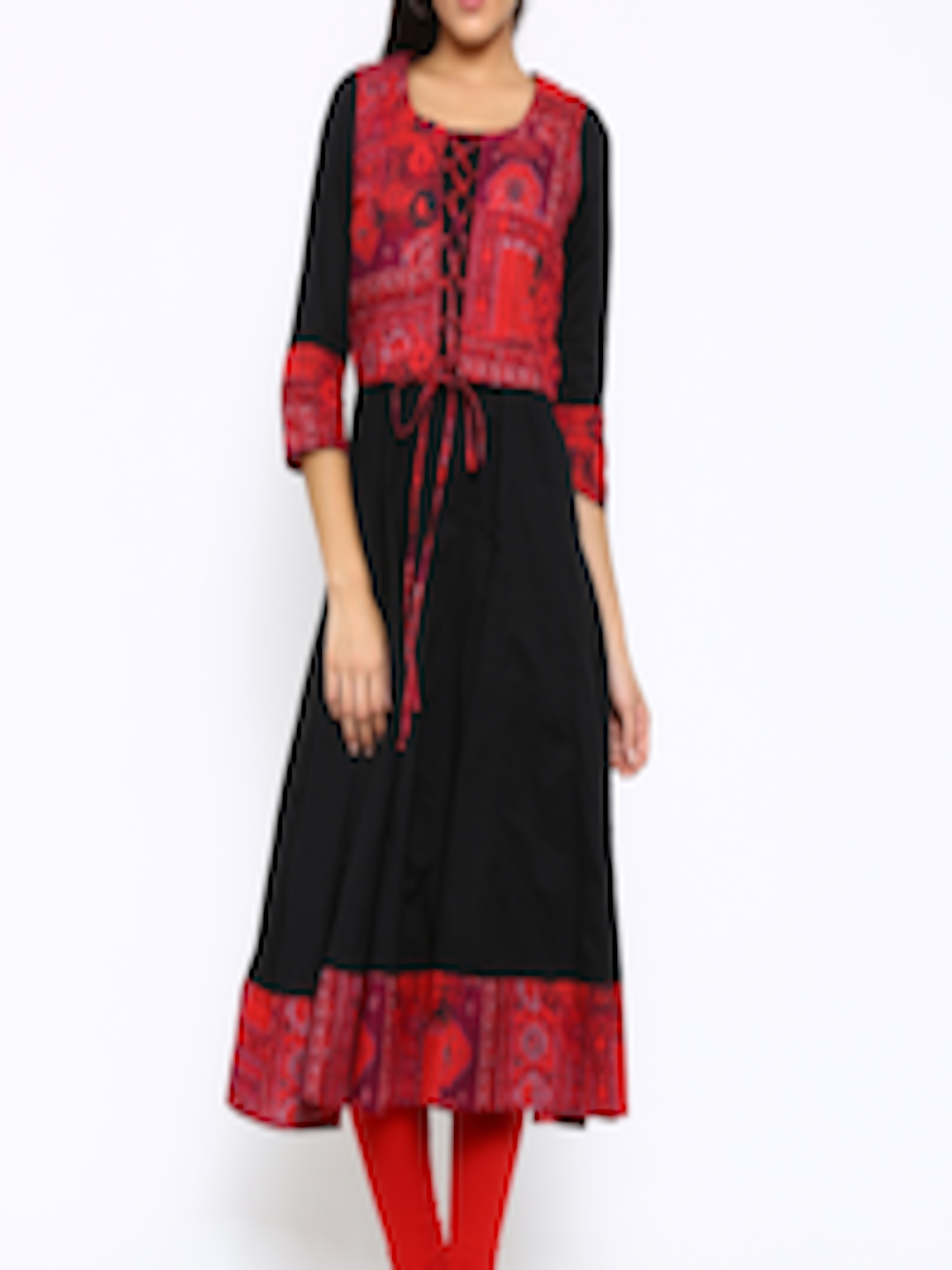 6761a05e1 Buy Vishudh Women Black   Red Anarkali Kurta With Jacket - Kurtas for Women  1504743