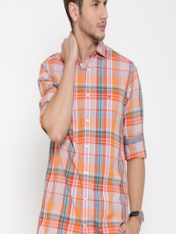 Orange 100/% Cotton Spread Collar Tommy Hilfiger Dress Shirt