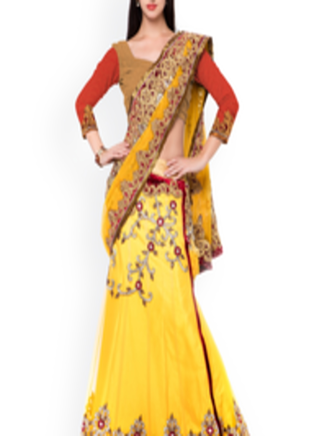 buy triveni yellow embroidered net silk lehenga style. Black Bedroom Furniture Sets. Home Design Ideas