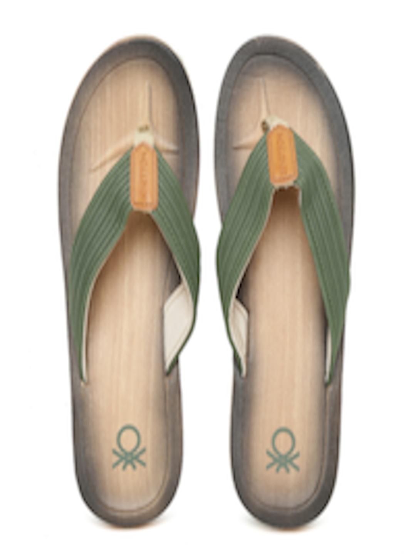 Buy United Colors Of Benetton Men Olive Green Flip Flops -9657