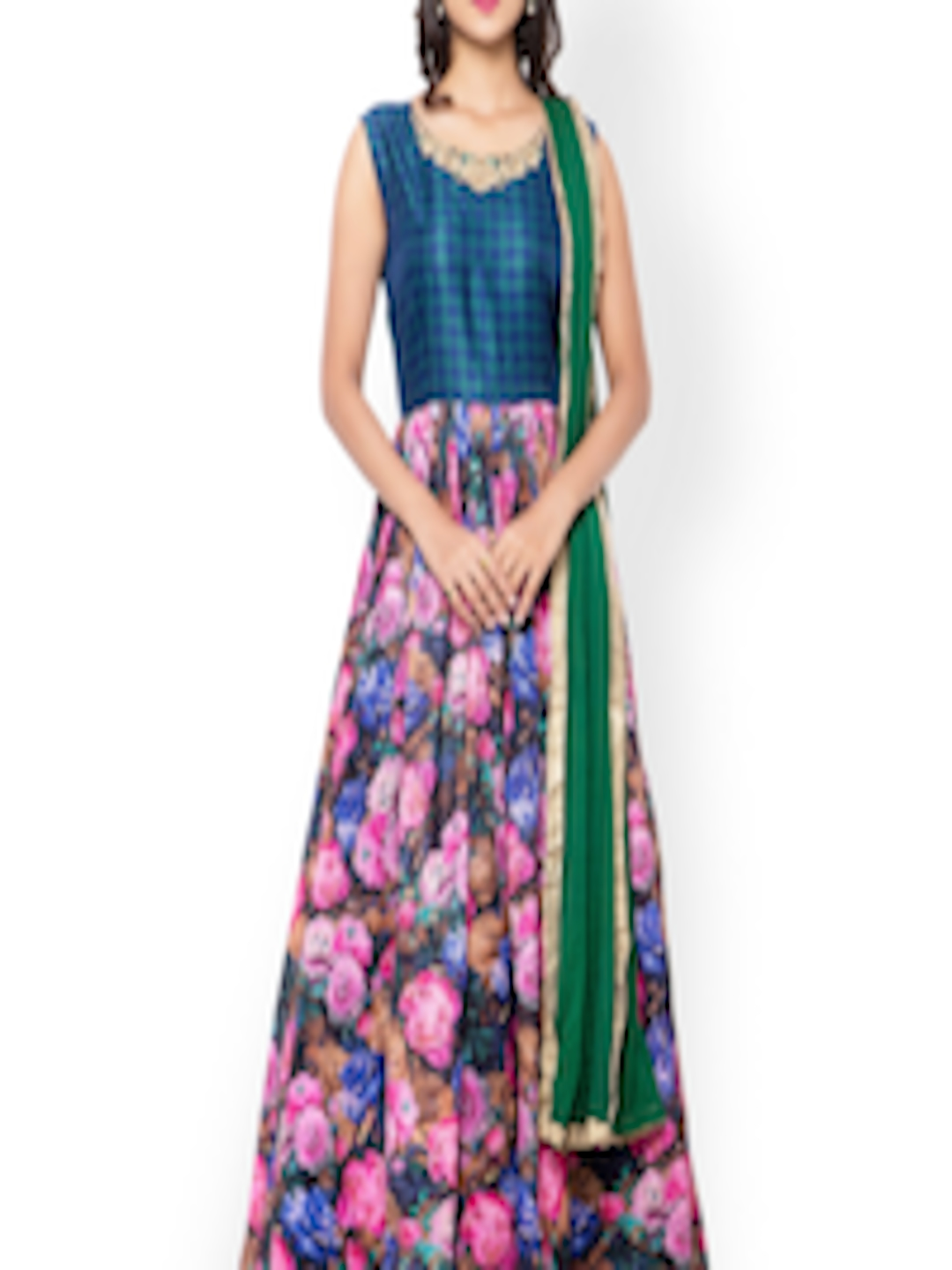 Smart Buy Auto >> Buy Inddus Blue & Pink Embroidered Unstitched Dress Material - Dress Material for Women 1518351 ...