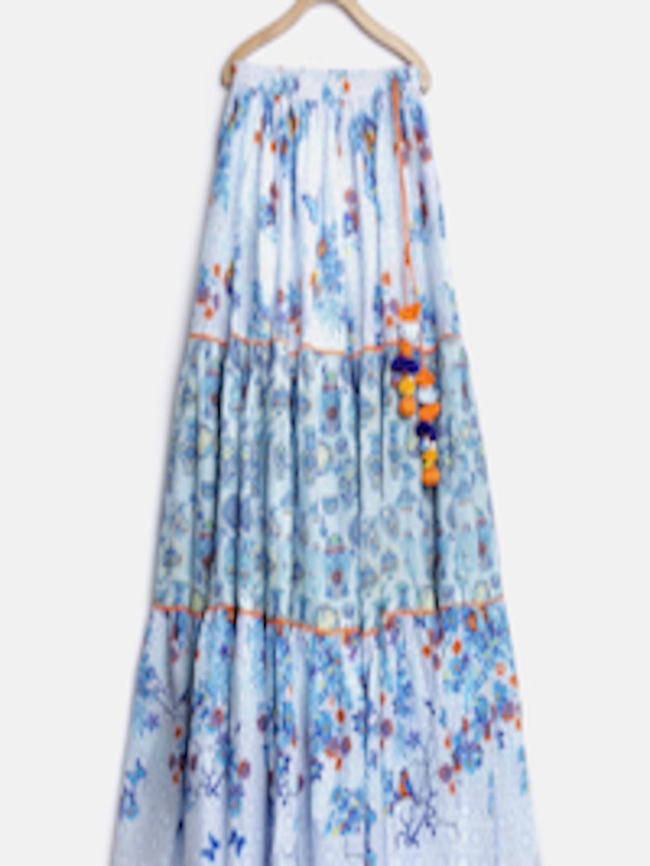 Buy Biba Girls Blue Amp White Printed Flared Maxi Skirt