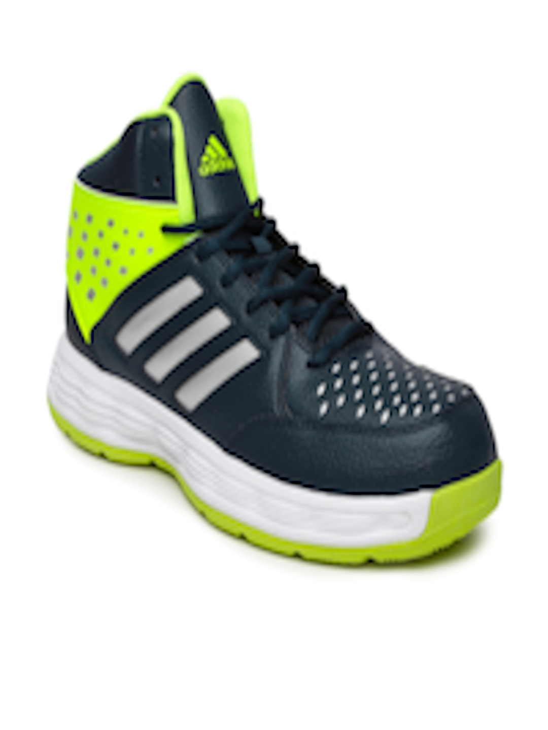 402e07a3acb Buy ADIDAS Men Navy And Fluorescent Green Mid Top Basecut 16 Basketball  Shoes - Sports Shoes for Men 1525136
