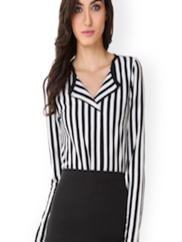 af2af4bdaa2 Buy Texco Women Black   White Striped Formal Shirt - Shirts for Women  1527265