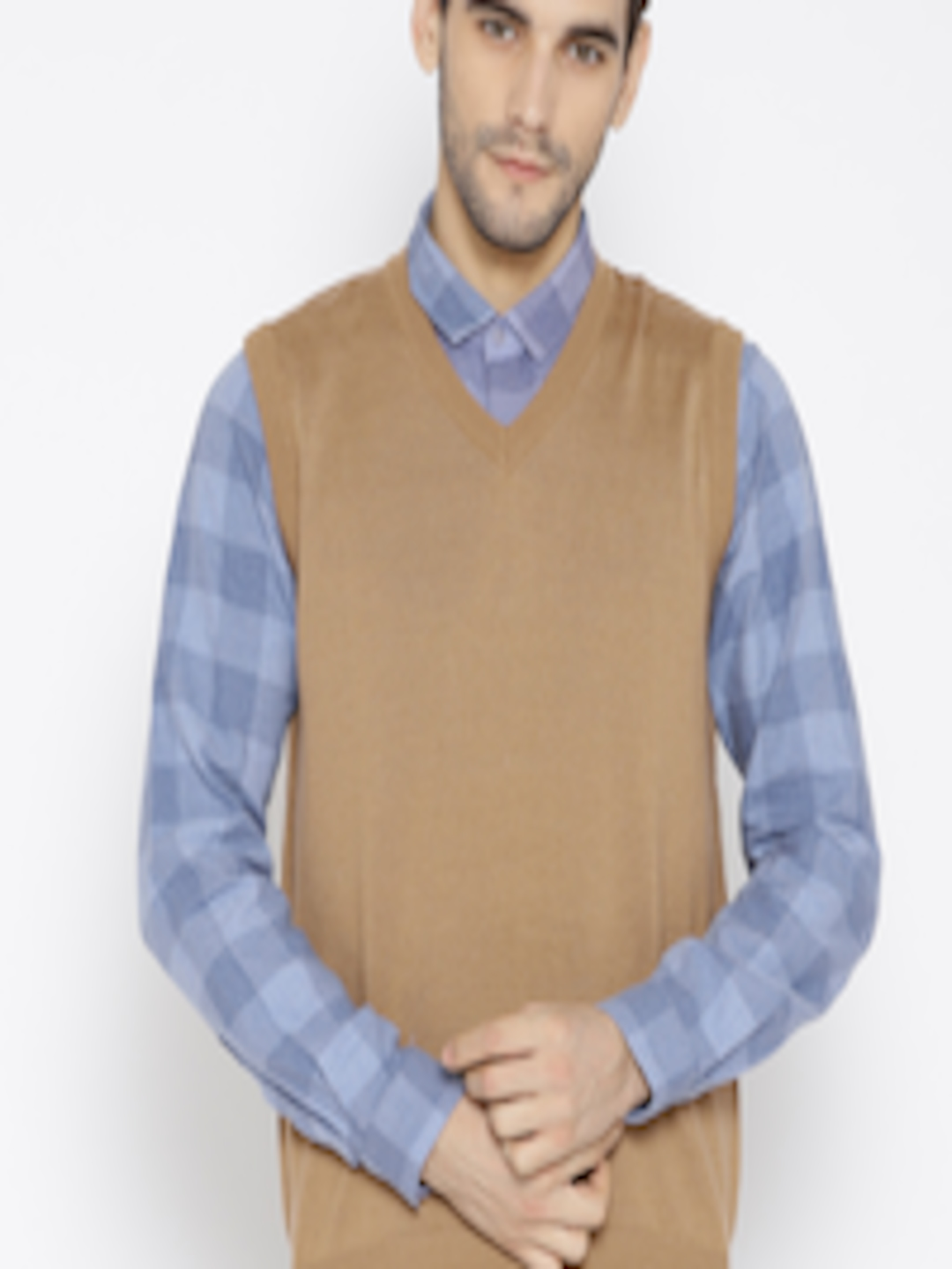 Buy Park Avenue Men Brown Solid Sweater Vest Sweaters For Men