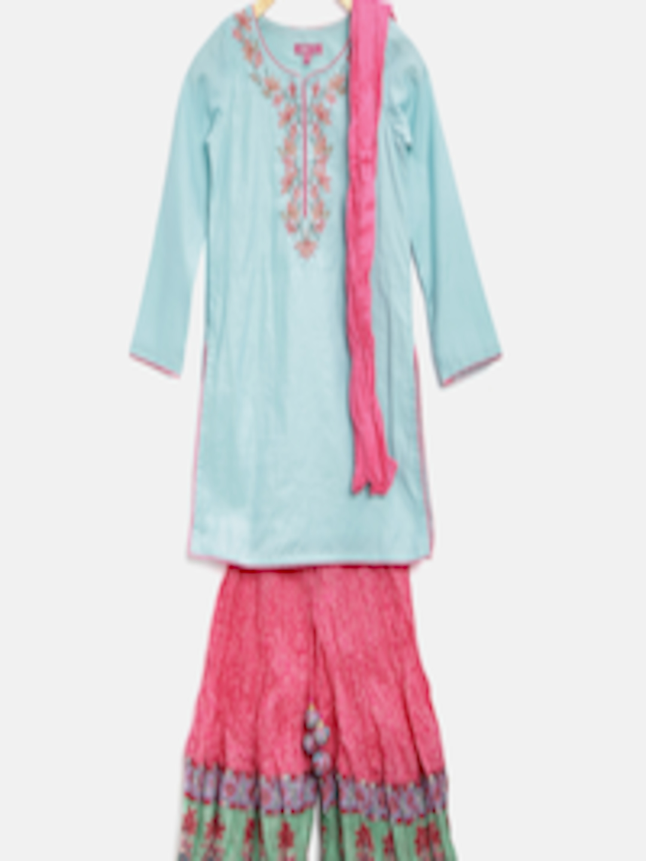 Ihram Kids For Sale Dubai: Buy Biba Girls Blue & Pink Embroidered Kurta With Palazzo