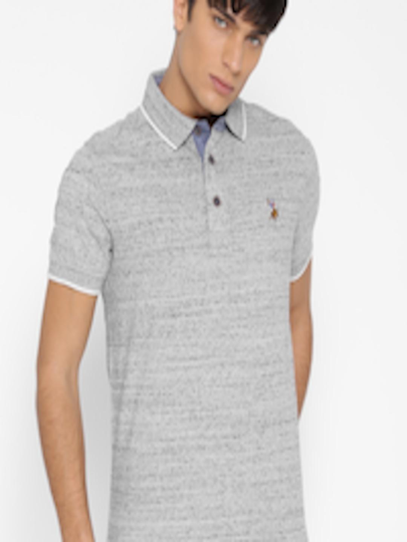 Buy u s polo assn denim co men grey melange patterned Us polo collar t shirts