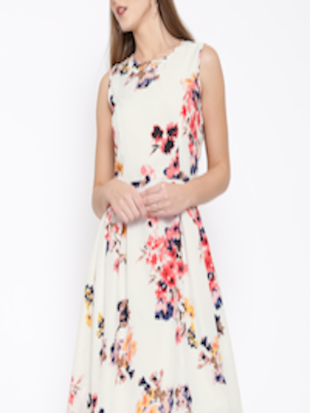 9be4f826a010 Buy RARE Women Off White Floral Print Fit   Flare Dress - Dresses for Women  1567212