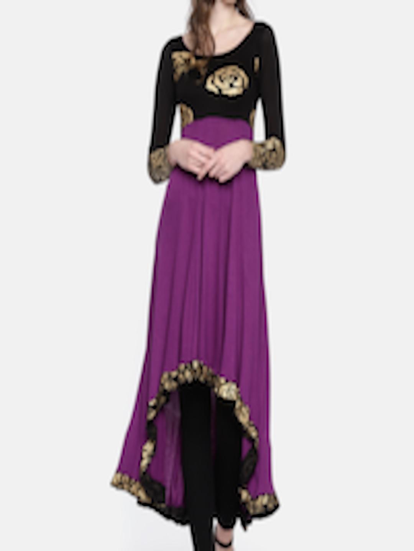 c7a14963b0 Buy Ira Soleil Women Purple & Black Yoke Design Knitted A Line Kurta ...