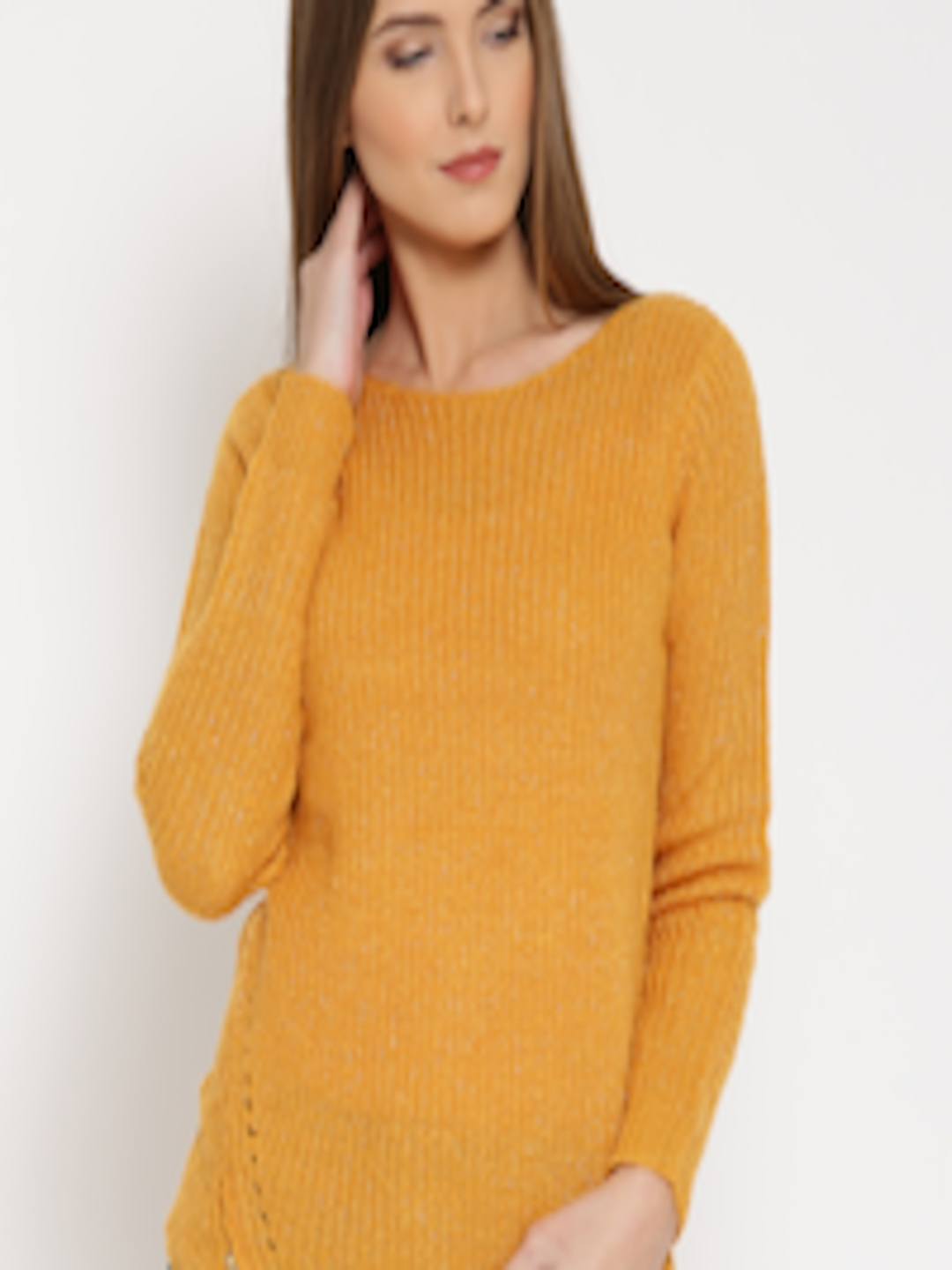 Buy SF JEANS By Pantaloons Women Mustard Yellow Cable Knit Sweater ...