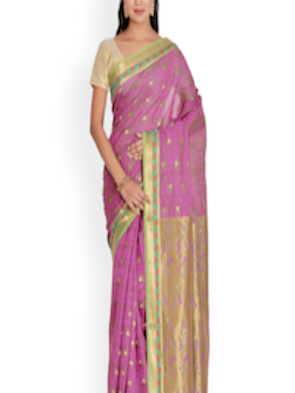 cff2864514 Buy Platinum Purple Cotton & Kosa Silk Traditional Saree - Sarees for Women  1583234 | Myntra