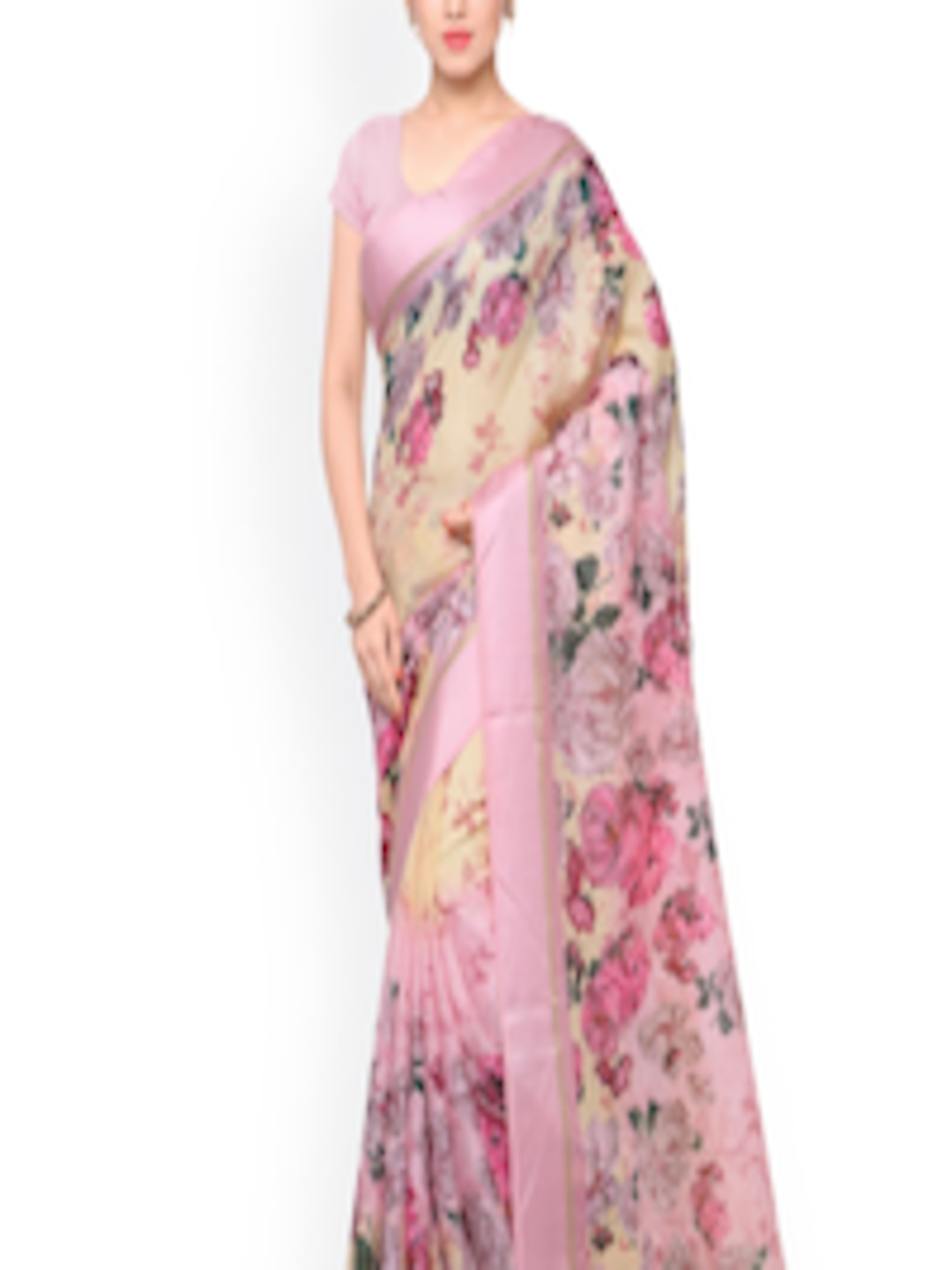 b2f67f4451921 Buy Inddus Pink   Beige Art Silk Floral Print Saree - Sarees for Women  1583574