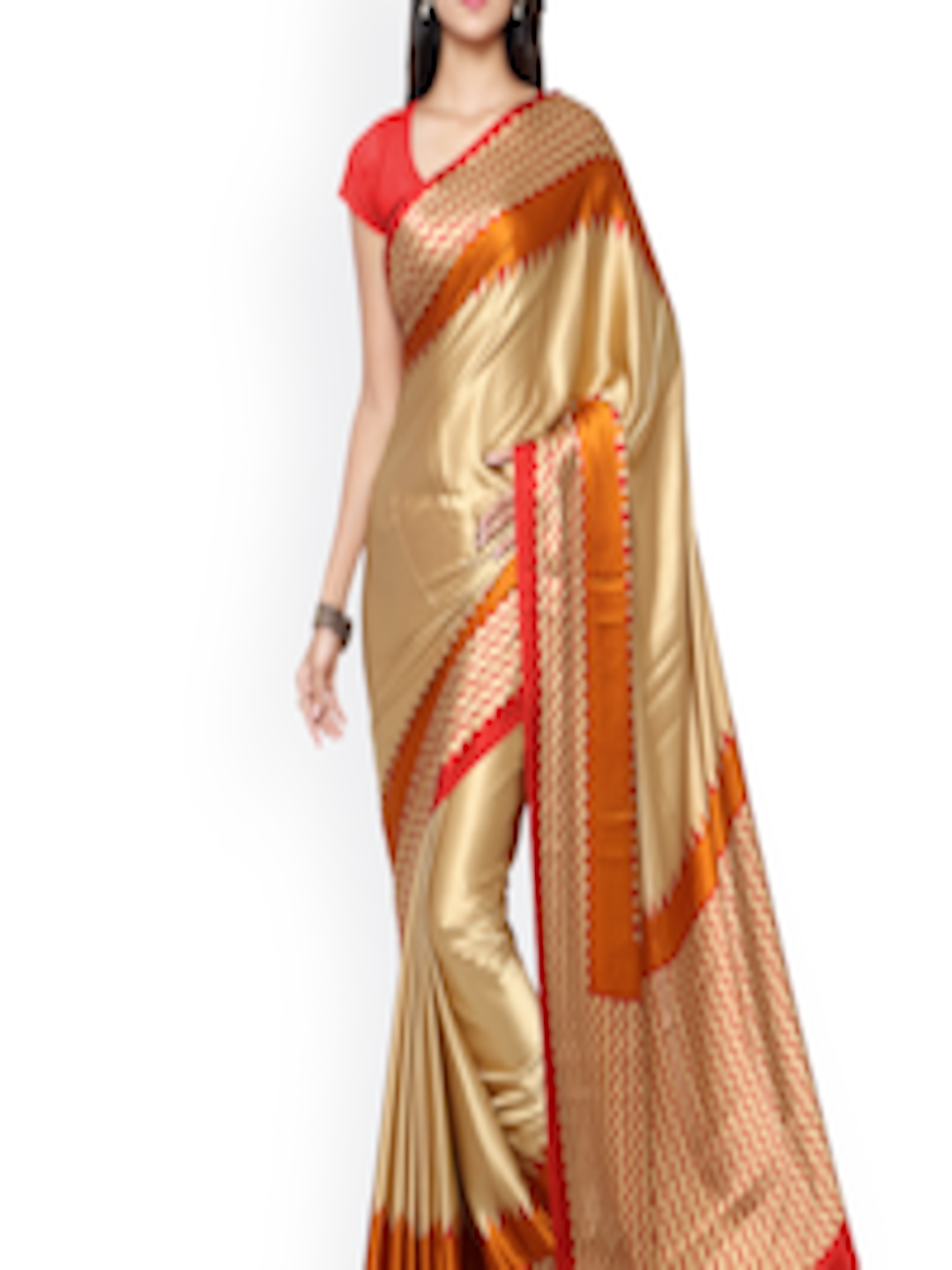 buy saree mall beige red crepe printed saree sarees. Black Bedroom Furniture Sets. Home Design Ideas