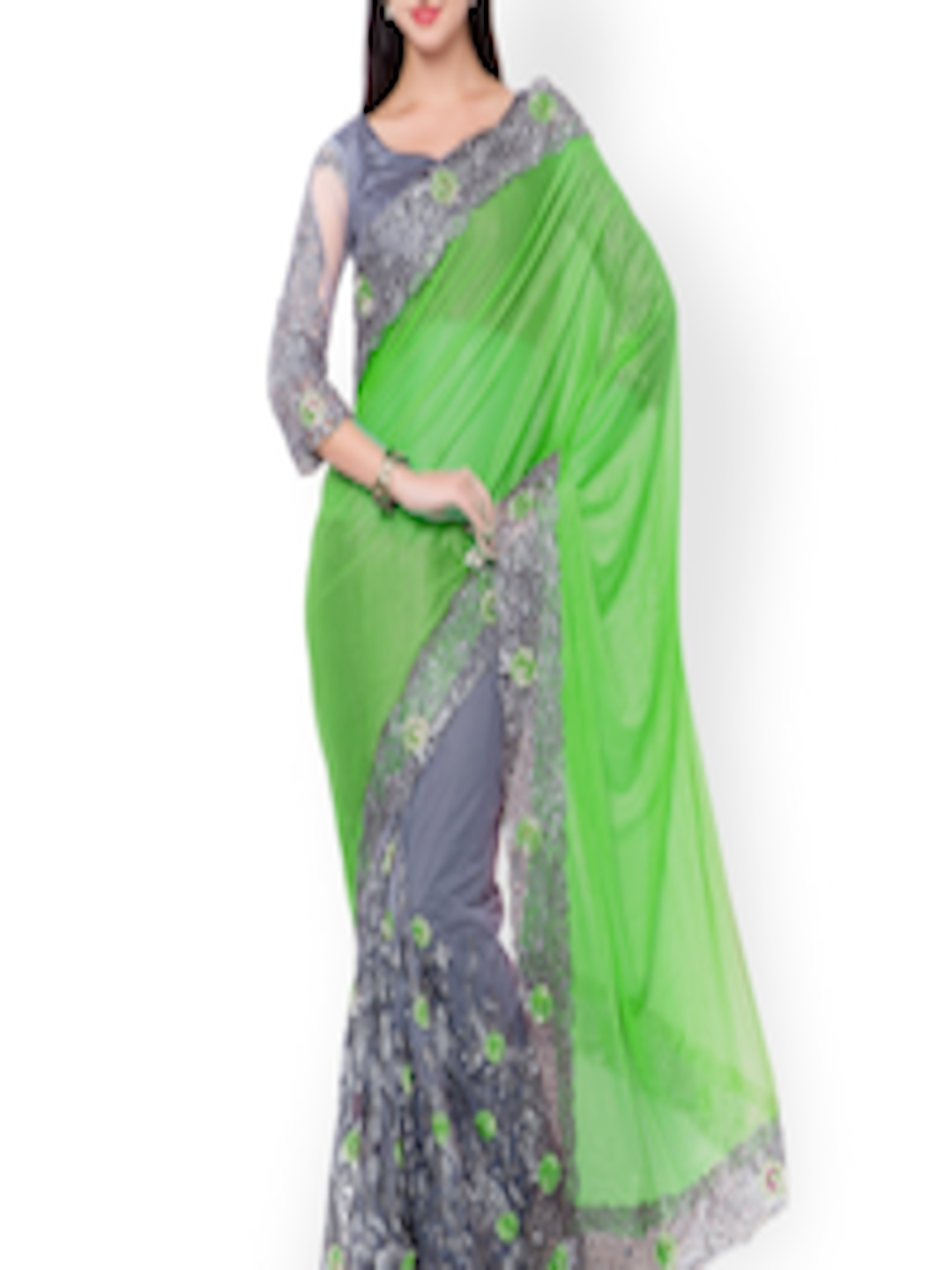 buy triveni green grey embroidered net embellished saree. Black Bedroom Furniture Sets. Home Design Ideas