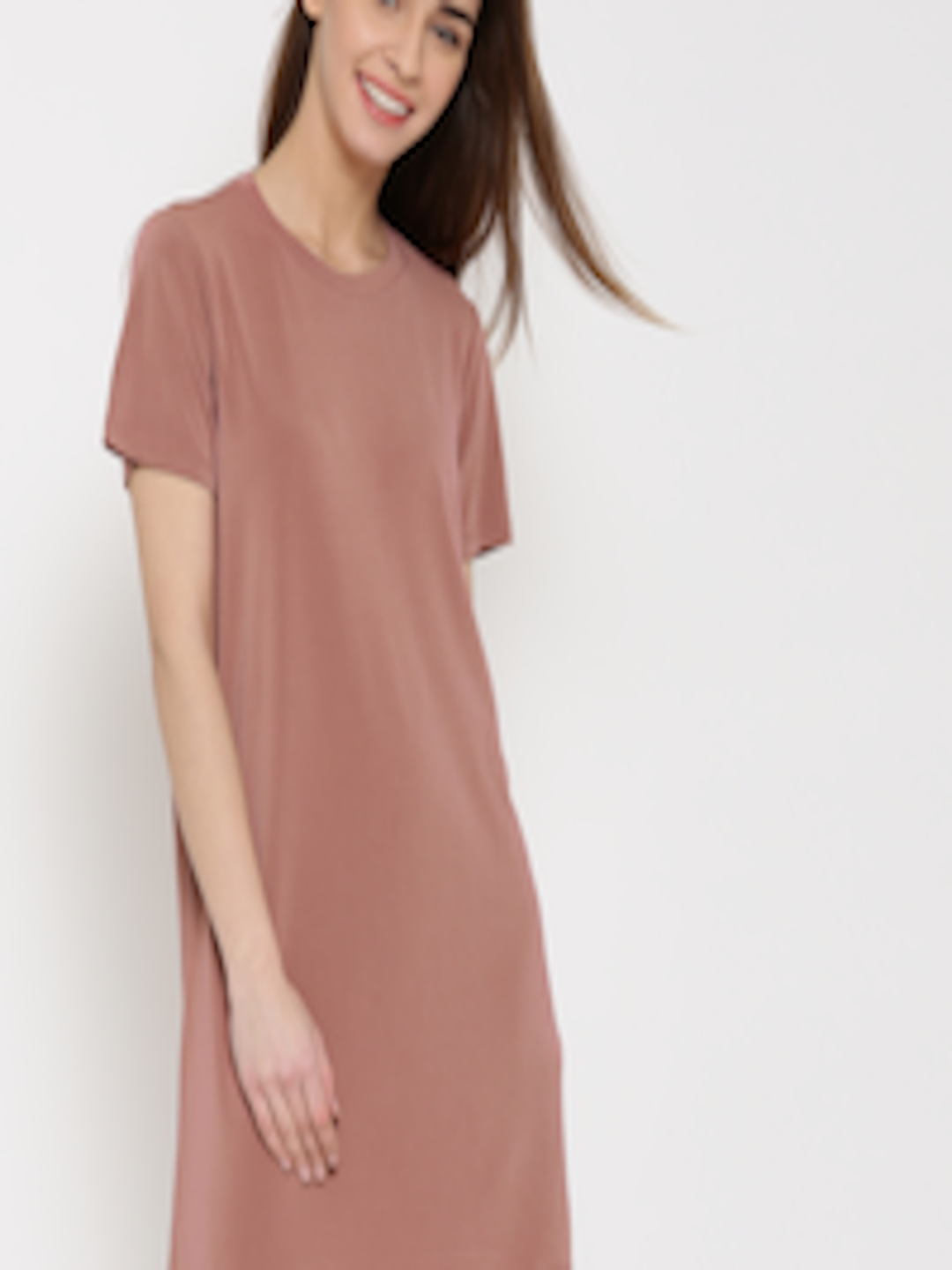 Buy FOREVER 21 Women Dusty Pink Solid T Shirt Dress ...