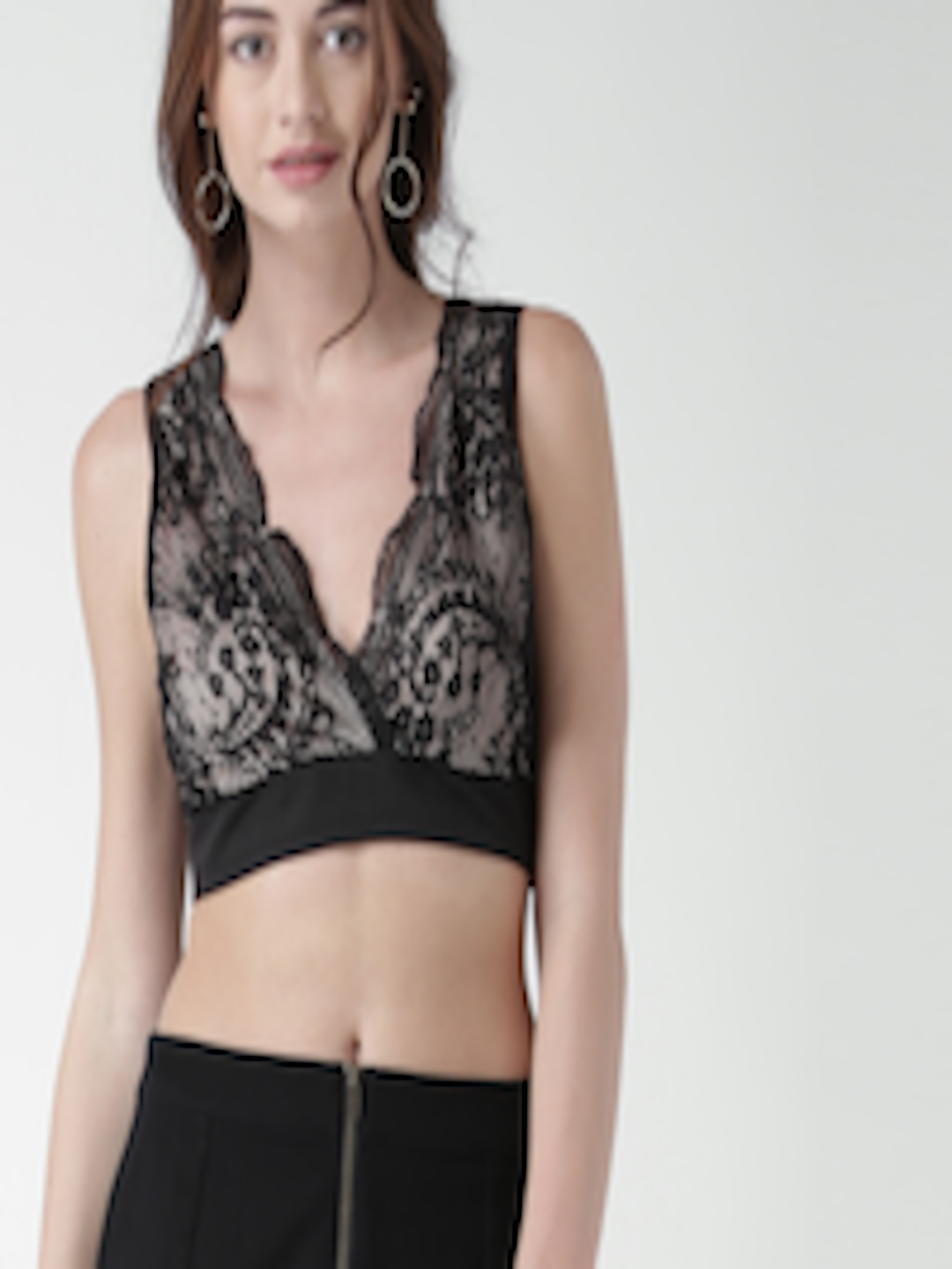 2b8a253f18bdd9 Buy FOREVER 21 Women Black   Nude Coloured Lace Bralette Top - Tops for  Women 1621665