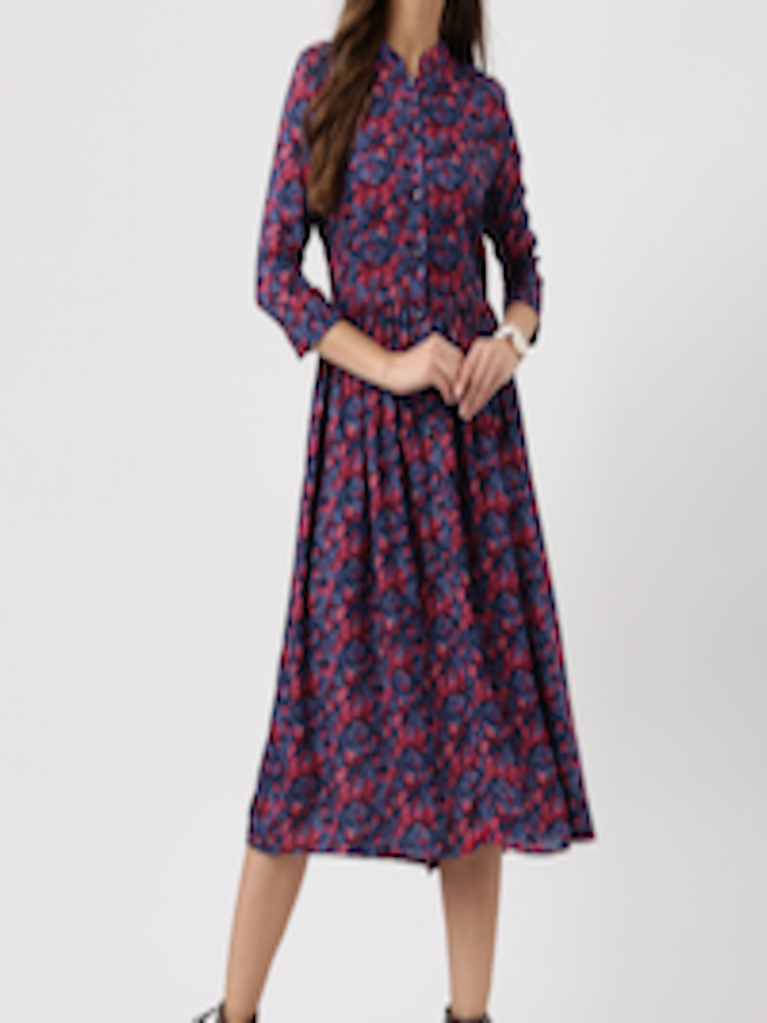 Buy Marie Claire Women Blue Floral Print Fit Amp Flare Dress