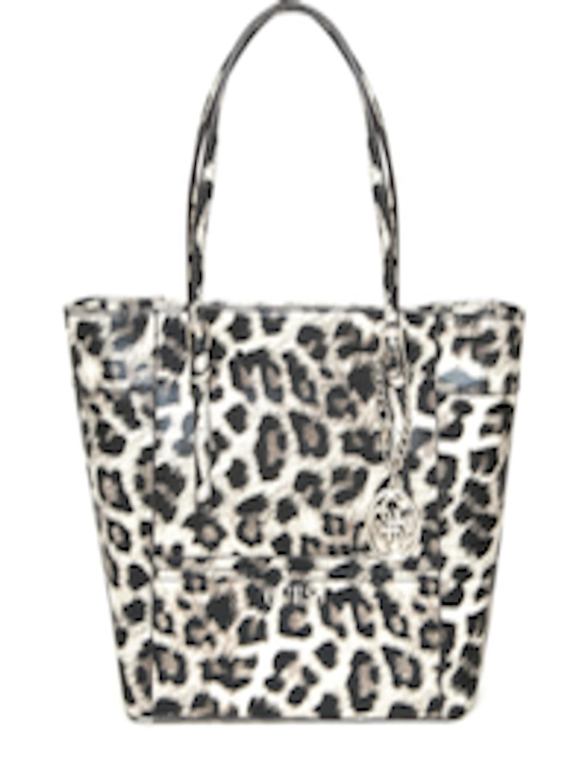 Guess Black Beige Leopard Print Shoulder Bag Handbags For Women 1668082 Myntra