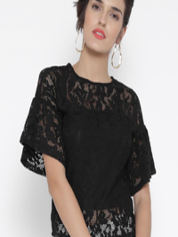 a3537844cf351 Buy MANGO Women Black Lace Top - Tops for Women 1670605
