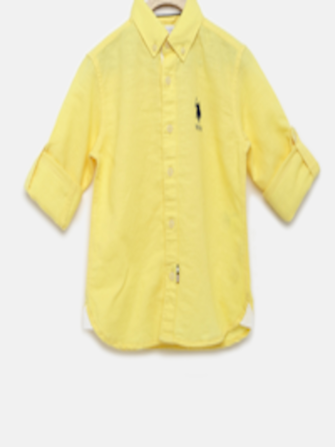 1cab0a67 Buy U.S. Polo Assn. Kids Boys Yellow Solid Linen Casual Shirt - - Apparel  for Boys