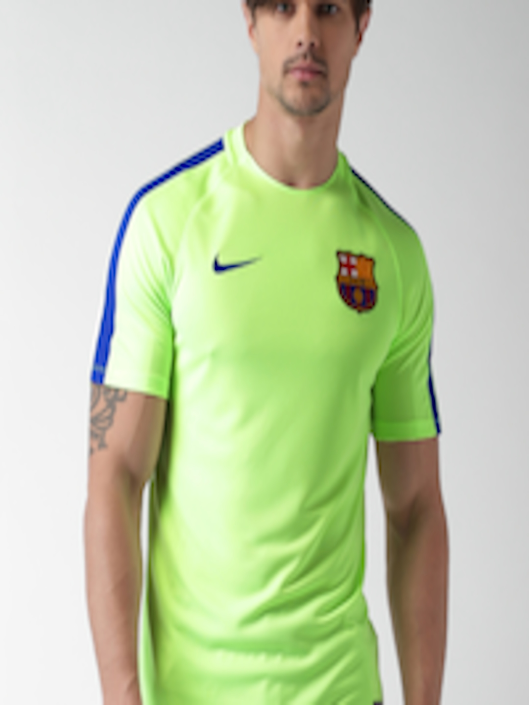 Buy Nike Men Fluorescent Green Fc Barcelona Round Neck T Shirt Tshirts For Men 1721860 Myntra