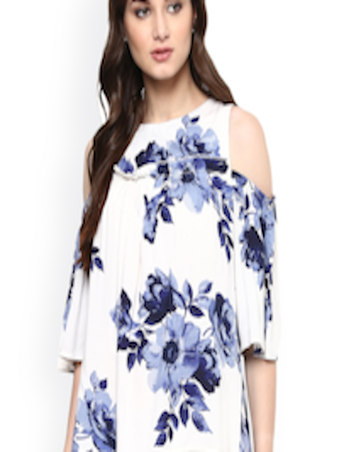 cb50e49304a5f0 Buy Harpa Women White   Blue Printed Cold Shoulder Top - Tops for Women  1725791