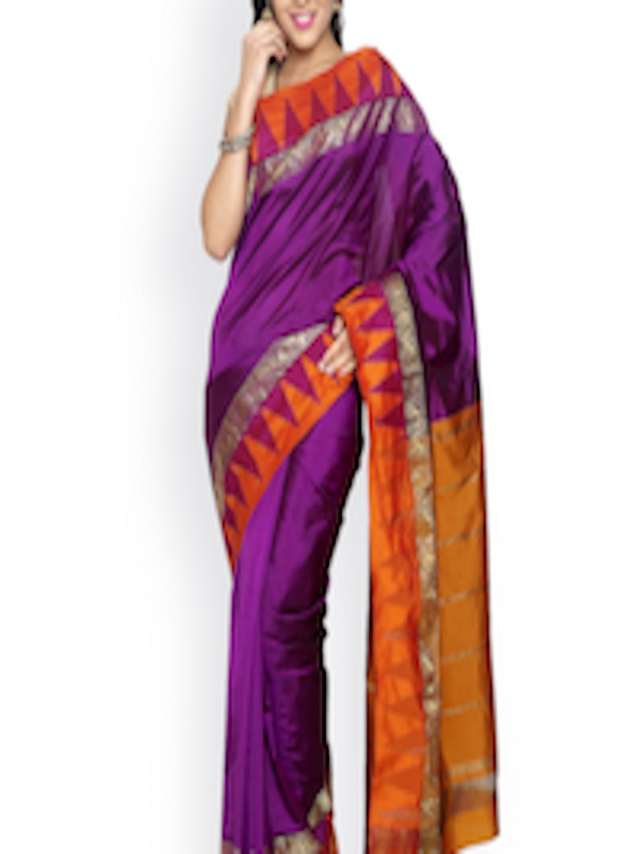 43ed6bbe1c Buy Sudarshan Silks Purple Kanchipuram Silk Traditional Handloom Saree -  Sarees for Women 1729644   Myntra