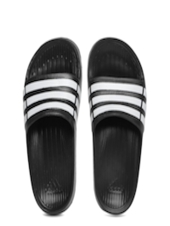 189fd1c4cd0b Buy ADIDAS Boys Black   White Duramo Slide K Striped Flip Flops - Flip  Flops for Boys 1731276