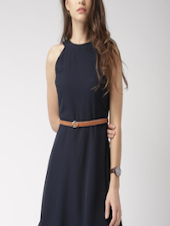 Buy Mast Amp Harbour Women Navy Blue Fit Amp Flare Dress